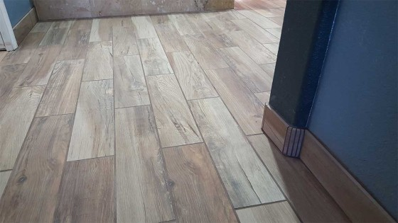 treated wood bathroom floor